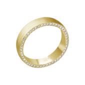 Кольцо обручальное дизайнерское матовое с бриллиантами в торце из желтого золота 585 пробы
