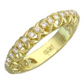 Кольцо обручальное с бриллиантами по всей шинке, желтое золото 750 проба 3.7мм