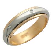 Кольцо обручальное с бриллиантом, красное с белым золото 4мм