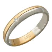 Кольцо с канавкой, комбинированное золото, вставка бриллиант 1 шт красное и белое золото