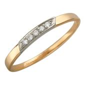 Кольцо обручальное с дорожкой из бриллиантов, комбинированное золото 585 пробы 2.5мм