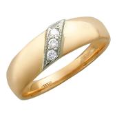 Кольцо обручальное с 3 бриллиантами посередине, красное и белое золото 585 пробы 6мм