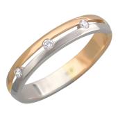 Кольцо обручальное с бриллиантами и прорезью посередине, комбинированное золото, 585 пробы