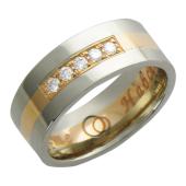 Кольцо обручальное с бриллиантами, три полосы золота разного цвета, гравировка Вместе Навсегда, 585 пробы 7мм