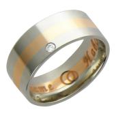 Кольцо, комбинированное золото, полоска белого и красного золота, вставка бриллиант 1 шт.