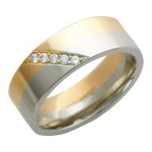Кольцо обручальное, полоска белого и красного золота, вставка по диагонали бриллианты 5 шт.