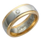 Кольцо обручальное с бриллиантом, широкая шинка, скосы по краям, гравировка Вместе Навсегда, красное и белое золото 585 пробы 7.5 мм