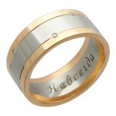 Кольцо обручальное, красное и белое золото, вставка бриллиант 12 шт.  7.5мм