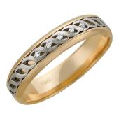 Кольцо обручальное с пятью бриллиантами, красное и белое золото 5мм
