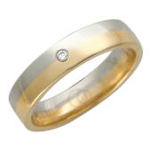 Кольцо обручальное, красное и белое золото, вставка бриллиант 1 шт 4.5мм