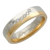 Кольцо обручальное Улыбка, красное и белое золото, вставка бриллиант 7 шт 5мм