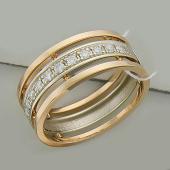 Кольцо обручальное с дорожкой бриллиантов, красное и белое золото