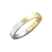 Кольцо обручальное прямое с одним бриллиантом, желтое и белое золото