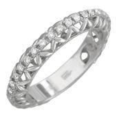 Кольцо обручальное с бриллиантами по всей шинке, белое золото 750 проба 3.7мм