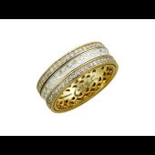 Кольцо обручальное с бриллиантами и белой эмалью, желтое и белое золото 750 проба