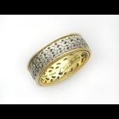 Кольцо обручальное с бриллиантами, желтое и белое золото