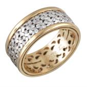 Кольцо с бриллиантами из красного и белого золота 585 пробы