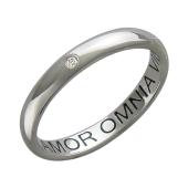 Кольцо обручальное с 1 бриллиантом с надписью amor omnia vincit - любовь побеждает все, платина 900 проба
