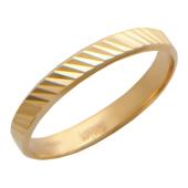 Кольцо обручальное с алмазной огранкой по диагонали, красное золото, 3 мм