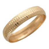 Кольцо обручальное с мелкой огранкой, красное золото, 4.8 мм