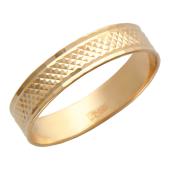 Кольцо обручальное с алмазной огранкой мелкий ромб, красное золото, 4 мм