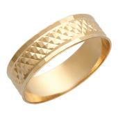 Кольцо обручальное с алмазной огранкой ромб шинка 6.6 мм, красное золото