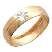 Кольцо обручальное с гравировкой Ты и Я с вставкой в виде звезды ширина шинки 4.0мм