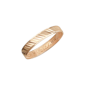Обручальное кольцо с алмазными гранями и гравировкой внутри Спаси и Сохрани, красное золото 3мм