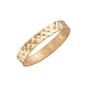 Кольцо обручальное с крупными алмазными гранями и надписью Спаси и Сохрани, красное золото 3мм