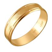 Кольцо обручальное с насечками елочкой из красного золота 5,3мм