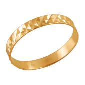 Кольцо обручальное с алмазными гранями из красного золота 585 пробы