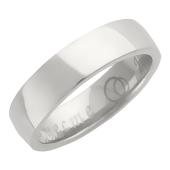 Кольцо обручальное гладкое с широким торцом, гравировка Вместе Навсегда, белое золото h=5 mm