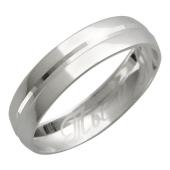 Кольцо обручальное Ты и Я с канавкой посередине, белое золото, 585 пробы 4 мм