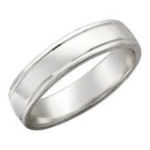 Обручальное кольцо, белое золото, 585 пробы, средняя толщина с канавкой 4.5 мм