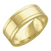 Обручальное кольцо с двумя канавками Вместе Навсегда, желтое золото, широкий торец h=7.2 mm