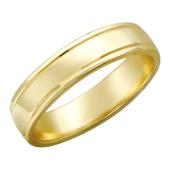 Обручальное кольцо, желтое золото, 585 пробы, средняя толщина, с канавкой 4.5мм