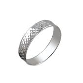 Кольцо обручальное с алмазными гранями в ромбик, серебро