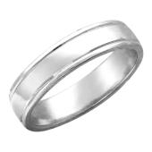 Кольцо обручальное с бороздками, серебро