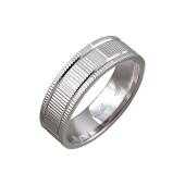 Кольцо обручальное с насечками, серебро