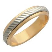 Кольцо обручальное с ребристой вставкой из белого золота ширина шинки 4.0мм, красное золото