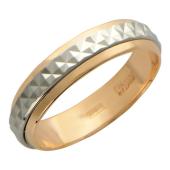Кольцо обручальное из красного золота с ребристой вставкой из белого золота (в виде обруча) ширина шинки 4 мм