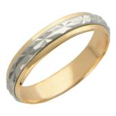 Кольцо обручальное с вращающимся центром из желтого и белого золота