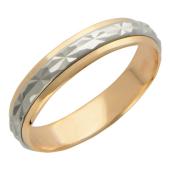 Кольцо обручальное с ребристой вставкой из белого золота (в виде обруча) ширина шинки 4.0мм, красное золото