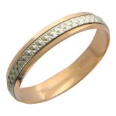 Кольцо обручальное с вставкой из белого золота (в виде обруча) ширина шинки 4.0мм