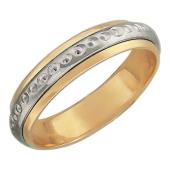 Кольцо обручальное со вставкой из белого золота (в виде обруча с золотыми точками) ширина шинки 4.0мм