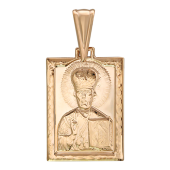 Николай Чудотворец в прямоугольном окладе, красное золото, высота 17 мм