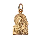 Божья Матерь Казанская без оклада, красное золото, высота 18 мм