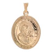 Божья Матерь Казанская в овальном окладе с орнаментом, красное золото, 2.5 см
