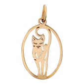 Кулон Кошка в овале, красное золото, 585 проба