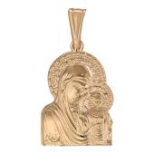 Божья Матерь Казанская без оклада, красное золото, высота 27 мм